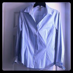 Blue & White Button-Down Shirt